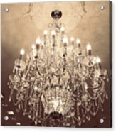 Paris Dreamy Golden Sepia Sparkling Elegant Opulent Chandelier Fine Art Acrylic Print by Kathy Fornal