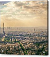 Paris Eiffel Skyline And Cityscape Aerial View At Sunset From Montparnasse Tower Observation Deck  Acrylic Print
