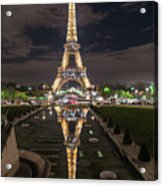 Paris Eiffel Tower Dazzling At Night Acrylic Print