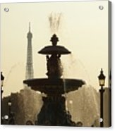 Paris Fountain In Sepia Acrylic Print