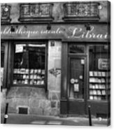 Paris France Book Store Library Black And White Acrylic Print