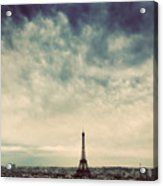 Paris, France Skyline With Eiffel Tower. Dark Clouds, Vintage Acrylic Print