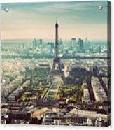 Paris, France Vintage Skyline, Panorama. Eiffel Tower, Champ De Mars Acrylic Print