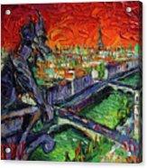 Paris Gargoyle Contemplation Textural Impressionist Stylized Cityscape Acrylic Print
