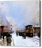 Paris In Winter Acrylic Print by Luigi Loir