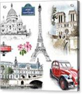 Paris Landmarks. Illustration In Draw, Sketch Style.  Acrylic Print