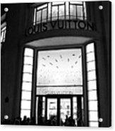 Paris Louis Vuitton Boutique - Louis Vuitton Paris Black And White Art Deco Acrylic Print
