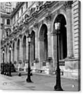 Paris Louvre Black And White Architecture - Louvre Lantern Lights Acrylic Print