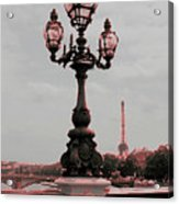 Paris Luminaires And Eiffel Tower Acrylic Print