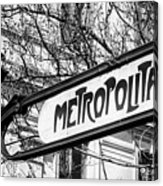 Paris Metro Sign Bw Acrylic Print