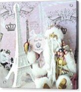 Paris Shabby Chic Holiday Santa - Paris Pink Santa Claus Joyeux Noel - Pink Santa Eiffel Tower Print Acrylic Print