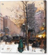 Paris, Porte Saint Denis In Winter Acrylic Print