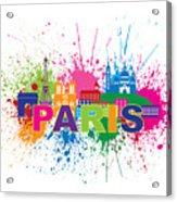 Paris Skyline Paint Splatter Text Illustration Acrylic Print
