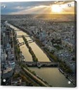 Paris Sunrays Dusk Along The Seine Acrylic Print