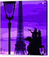 Paris Tour Eiffel Violet Acrylic Print