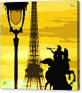 Paris Tour Eiffel Yellow Acrylic Print