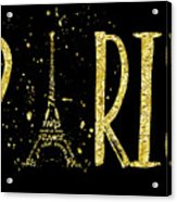 Paris Typografie - Gold Splashes Acrylic Print