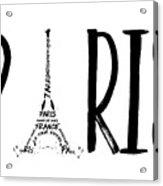 Paris Typography Acrylic Print