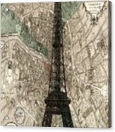Paris Vintage Map And Eiffel Tower Acrylic Print
