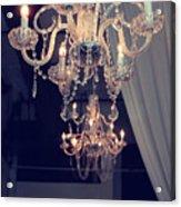 Parisian Crystal Chandelier - Chandelier In Window - Paris Gold Crystal Chandelier Decor Acrylic Print