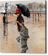 Parisienne On A Rainy Day Acrylic Print