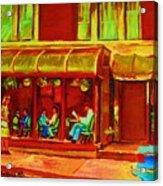 Park Avenue Montreal Cafe Scene Acrylic Print
