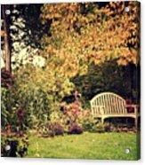 Park Bench, Fall Acrylic Print