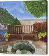 Park Bench In A Garden Acrylic Print