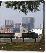 Park Bench Reading Acrylic Print