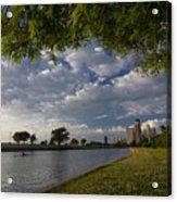 Park Scene With Rower And Skyline Acrylic Print