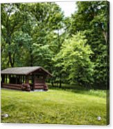 Park Shelter In Lush Forest Landscape Acrylic Print