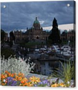 Parliament Building In Victoria At Dusk Acrylic Print