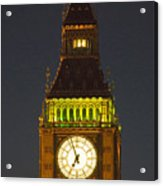 Parliament Tower At Night Acrylic Print