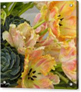 Parrot Tulips And Desert Succulents Acrylic Print