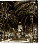 Pasadena City Hall After Dark In Sepia Tone Acrylic Print