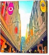 Passage Between Colorful Buildings Acrylic Print