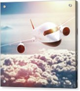 Passenger Airplane Flying At Sunset, Blue Sky. Acrylic Print
