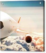 Passenger Airplane Flying At Sunshine, Blue Sky. Acrylic Print
