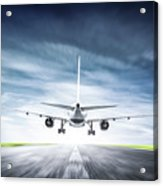 Passenger Airplane Taking Off On Runway Acrylic Print