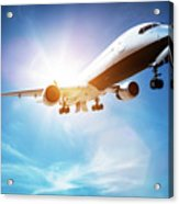 Passenger Airplane Taking Off, Sunny Blue Sky. Acrylic Print