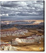 Passing Thunderstorms And Sun Breaks Highlight The Banded Hills Of Arizona's  Ha Ho No Geh Canyon. Acrylic Print