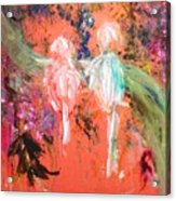 Pastel Parrots In Abstraction Acrylic Print