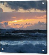 Pastel Sunset Over Stormy Waves Acrylic Print