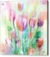 Pastel Tulips Collage Acrylic Print
