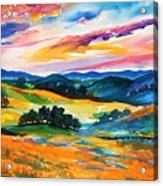 Pastoral Poppies On Yokohl Valley Acrylic Print
