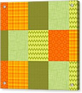 Patchwork Patterns - Orange And Olive Acrylic Print