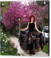 Patchwork Skirt - Hippie Fashion - Pink Spring Acrylic Print