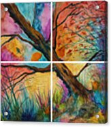 Patchwork Sky Tree Painting With Colorful Sky Acrylic Print