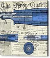 Patent, Old Pen Patent,blue Art Drawing On Vintage Newspaper Acrylic Print