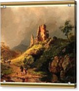 Path Next To The Ruins Of Belloque Castle L B With Decorative Ornate Printed Frame. Acrylic Print